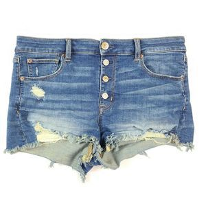 American Eagle Hi-Rise Shortie Shorts Distressed